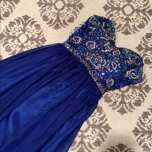 Maggie Sottero Royal Blue Beaded Prom Dress